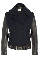 3.1 Phillip Lim Wool Biker Jacket With Leather Black