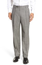 Berle Men's Pleated Stretch Plaid Wool Trousers Black White