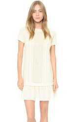 Red Valentino Short Sleeve Sweater Dress Cream Black