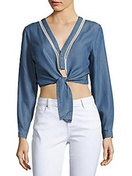 Lovers Friends Carmine V Neck Cropped Top Blue