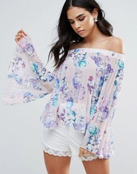 Jessica Wright Off Shoulder Bell Sleeve Floral Top White
