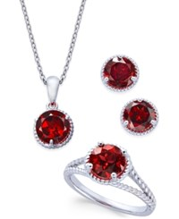 Macy's Rhodolite Garnet Rope Style Pendant Necklace Stud Earrings And Ring Set 5 Ct. T.W. In Sterling Silver Red
