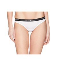 Emporio Armani Thong With Branded Waistband White Underwear