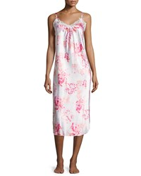Oscar De La Renta Pink Label Night Black Blooms Floral Print Nightgown Pink Multi