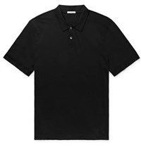 James Perse Cotton And Cashmere Blend Polo Shirt Black