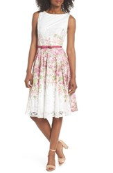 Gabby Skye Belted Floral Lace Fit And Flare Dress Pink Multi