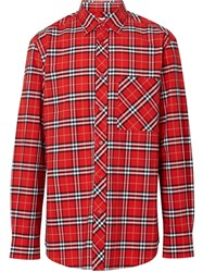 Burberry Small Scale Check Stretch Cotton Shirt Red