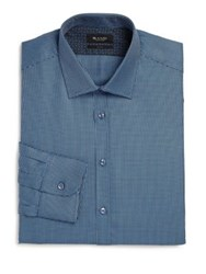 Sand Regular Fit Micro Houndstooth Dress Shirt Blue