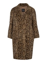 Persona Tastiera Leopard Print Coat With Contrast Lining Camel