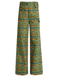 Miu Miu Agra Print Wide Leg Denim Trousers Green