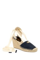 Diane Von Furstenberg Marcelle Lace Up Espadrille Wedge Blue