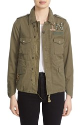 Tu Es Mon Tresor Women's 'The End' Embellished Military Jacket Khaki
