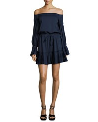 Alexis Rylan Pleated Off The Shoulder Dress Navy Blue