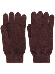 N.Peal Ribbed Gloves Pink And Purple