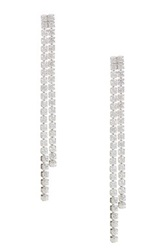 18K White Gold Plated Sterling Silver Cz Double Drop Earrings No Color