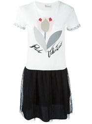 Red Valentino Tulle Skirt T Shirt Dress White