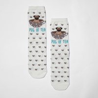 River Island Womens Cream 'Pug Of Tea' Heart Socks