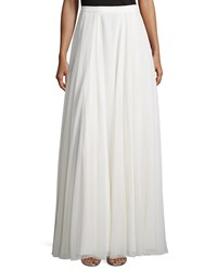 Halston Flowy Pleated Maxi Skirt Bone Ivory