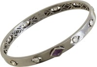 Deborah Pagani Diamond And Amethyst S And M Bracelet Colorless