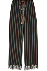Miguelina Fringed Striped Cotton Blend Wide Leg Pants Storm Blue