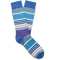 Pantherella Miyako Striped Sea Island Cotton Blend Socks Blue