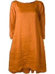 Aspesi Shift Dress Women Silk Linen Flax 40 Yellow Orange