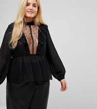 Alice And You High Neck Smock Top With Lace Insert Balloon Sleeves Black