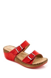 Godiva Buckle Wedge Sandal Red