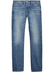Burberry Straight Fit Washed Japanese Selvedge Denim Jeans Blue