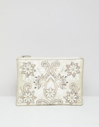 True Decadence Embellished Zip Top Clutch Cream