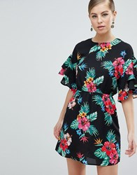 Ax Paris 3 4 Sleeve Tropical Print Dress Black