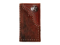 Mandf Western Star Concho Calf Hair Rodeo Wallet Brown Wallet Handbags