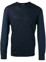 Neil Barrett Crew Neck Jumper Men Cotton Polyamide Spandex Elastane Viscose Xl Blue
