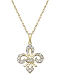 Macy's Diamond Two Tone Fleur De Lis Pendant Necklace 1 10 Ct. T.W. In 18K Gold Plated Sterling Silver With Sterling Silver Accents