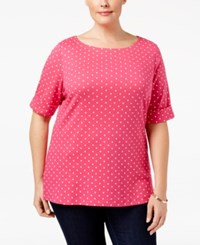 Karen Scott Plus Size Dot Print Boat Neck Top Only At Macy's Wild Punch