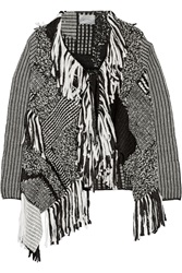 Maiyet Fringed Patchwork Wool Blend Sweater
