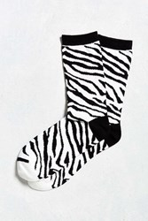 Urban Outfitters Zebra Crew Sock Black And White