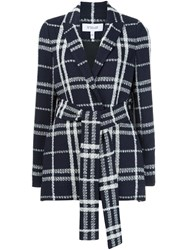 Derek Lam 10 Crosby Checked Belted Jacket Blue