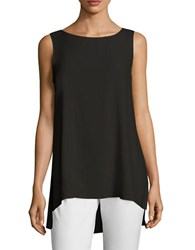 Eileen Fisher Silk Boatneck Long Shell Black