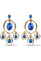 Oscar De La Renta Gold Tone Crystal Earrings Bright Blue
