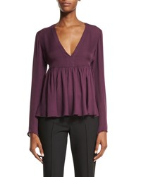 Elizabeth And James Araceli Long Sleeve Peplum Top Plum