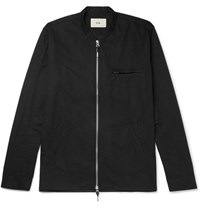 Folk Cotton Twill Zip Up Shirt Black