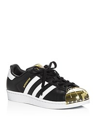 Adidas Women's Superstar Metallic Toe Lace Up Sneakers Black White Gold