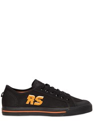 Raf Simons Spirit Logo Print Cotton Canvas Sneakers