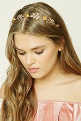 Forever 21 Floral Etched Leaf Headband Gold