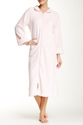 Casual Moments Zip Front Needle Out Trim Robe Pink