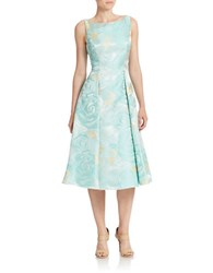 Adrianna Papell Floral Fit And Flare Dress Mint