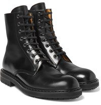 Alexander Mcqueen Leather Combat Boots Black