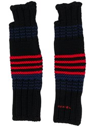 Sonia Rykiel Striped Fingerless Gloves Black