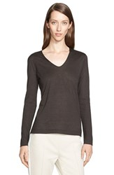 Women's Akris Cashmere And Silk Long Sleeve V Neck Jersey Top